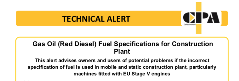 CPA Technical Alert -Red Diesel in Stage V engines