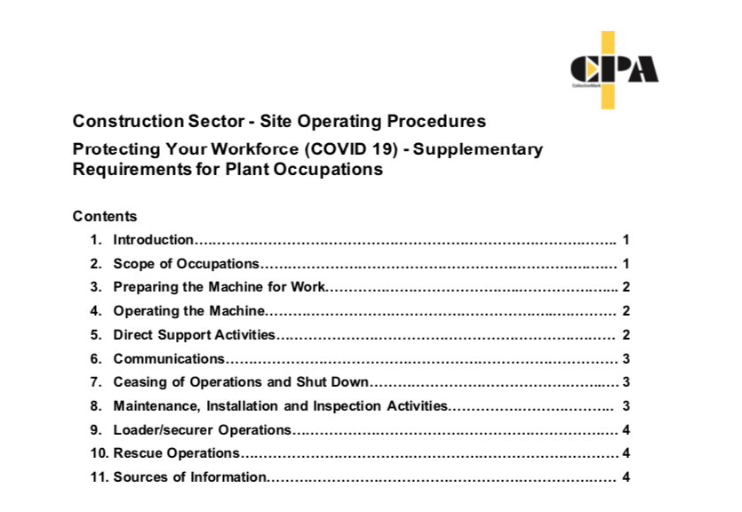 Construction Sector CPA Plant Occupations