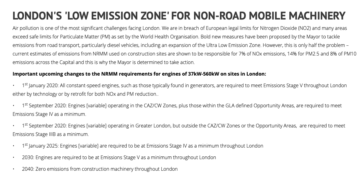 Londons Low Emission Zone for Non Road Mobile Machinery Dates